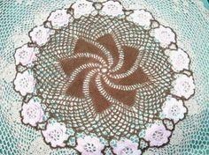 Vintage Pink White Roses Brown Pinwheel Pattern Crocheted Doily Handmade