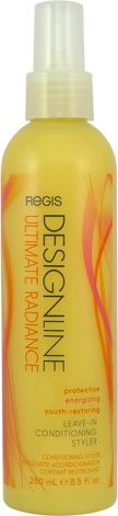 Regis Design Line Ultimate Radiance Leave-In Conditioning Styler: A conditioning styler infused with aloe vera and sea shell protein to help reconstruct hair from heat and environmental damage. Instantly detangles and boosts moisture, softness and shine while adding body. Also helps to prevent color fading. The products attributes are moisture, shine, detangling, & heat protectant.