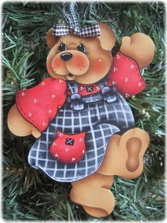 HP Teddy Bear Black White and Red Dress Ornament   eBay