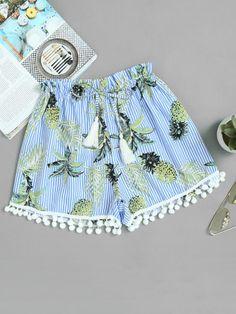 Vertical Striped Tropical Print Pom Pom Hem Shorts