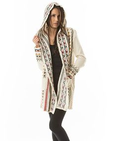 Aziza Cream Embroidered Hooded Open Cardigan by Aziza #zulily #zulilyfinds