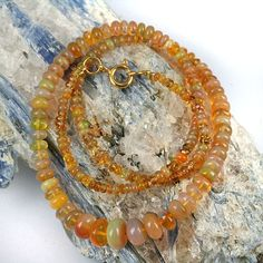 skj-jewelry - Ethiopan Welo Opal Gemstone Bead Necklace Honey Amber Color - 17 Inch Length