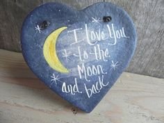 I Love You to the Moon and Back Salt Dough Heart Valentine's Day Ornament - Geschenke zur geburt - Products Salt Dough Projects, Salt Dough Crafts, Salt Dough Ornaments, Clay Ornaments, Homemade Ornaments, Valentine Crafts, Holiday Crafts, Christmas Crafts, Valentines