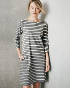 Bateau Three-Quarter-Sleeve Knit Dress