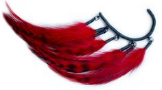 Anni Jurgenson red grizzly feather earcuff at www.froufrous.nl