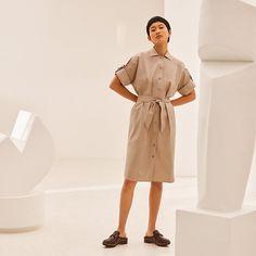 Hermes cotton dress - Spring Summer 2021 RTW collection. Chemise Dress, Spring Dresses, Cotton Dresses, Hermes, Barbie, Spring Summer, Shirt Dress, Sewing, Shirts