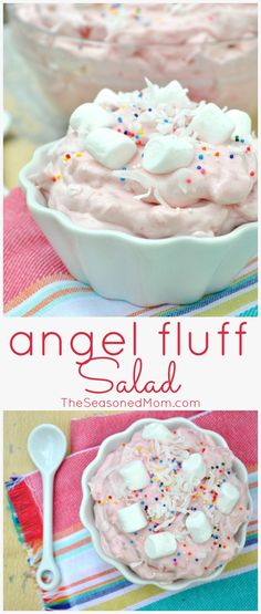 Angel Fluff Cool Whip Fruit Salad Toss together this easy dessert salad in just a few minutes it 39 s perfect as a party dish a dinner side or as a light treat A beautiful addition to a holiday table Mini Desserts, Brownie Desserts, Easy Desserts, Delicious Desserts, Dessert Recipes, Yummy Food, Yummy Yummy, Homemade Desserts, Fluff Desserts