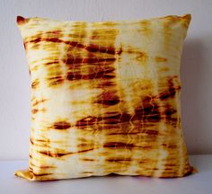 Decorative Throw Pillow Cover - Golden Yellow - Unique Abstract Pattern - Hand Dyed Fabric - 14 x 14 - Batik - Tie Dye - Shibori