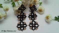 Black tatting earrings, black lace earrings, black earrings, tatting lace earrings, tatted earrings, long earrings