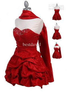 Red Taffeta Cocktail Dress Strapless Beads Sequins Ruched Pleated Bustled Above Knee Free Gift Shawl Beach Cocktail Dresses Bridesmaid Cocktail Dresses From Bestdavid, $90.9  Dhgate.Com