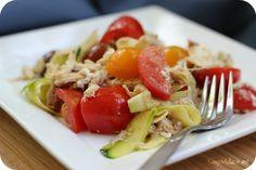 """Creamy Zucchini """"Pasta"""" with Tomato Recipe {Low Carb}"""