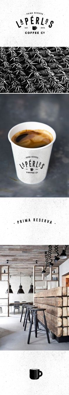 The combination of silkscreen style and rustic materials gives La Perlos Coffee Co. a very casual look. #restaurantgraphics #typography