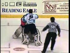 ECHL Evansville-Reading goalie fight - Clemente vs Anderson 2/15/14 Hockey, Baseball Cards, History, Reading, Youtube, Sports, Life, Hs Sports, Historia