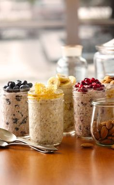 """""""Superpower"""" Overnight Refrigerator Oatmeal 6 different recipes. I looked into chia seeds and would just use flax seed instead. Lots of warnings with chia seeds. Breakfast In A Jar, Protein Packed Breakfast, Health Breakfast, Breakfast Healthy, Breakfast Cereal, Brunch Recipes, Breakfast Recipes, Breakfast Ideas, Overnight Oatmeal"""