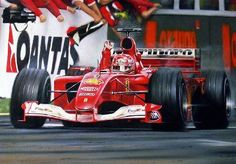 Michael Schumacher driving for Ferrari wins the opening race at the Australian Grand Prix, Albert Park 2001