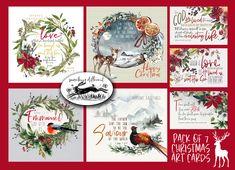 Christian Christmas cards pack of 7 bible verse watercolor painting print scripture art print - KJV AV - XMAS by edgeofthesand on Etsy