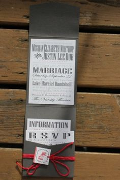 love this red and grey wedding invite, thought you might too. We could make this and put them together ourselves.