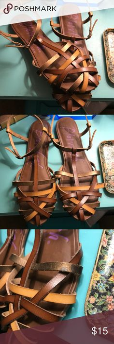 Blowfish Roobie Sandals Blowfish Roobie strappy sandals in bronze whiskey dye cut. Very comfortable and stylish. Has small spot of discoloration on one of the straps as pictured. Blowfish Shoes Sandals