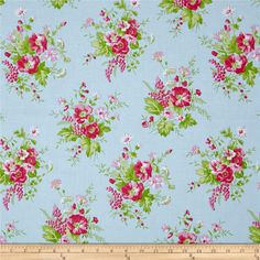 Tanya Whelan Sadie's Dance Card Wild Flower Blue from @fabricdotcom  Designed by Tanya Whelan for Free Spirit Fabrics, this cotton print collection features sweet, retro florals, polka dots, and stripes. Perfect for quilting, apparel, and home decor accents. Colors include blue, shades of green, shades of pink, and white.