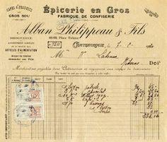 free printable digital image design resource ~ vintage French receipt ~ Epicerie en Gros