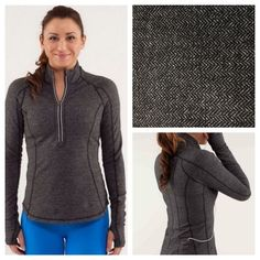 "Lululemon run: U-turn Pullover Black Herringbone. Excellent preloved condition (no pilling). Running Luon, reflective detailing, reversible, small back pocket and thumb holes. 19"" pit to pit measurement. No trades. No PayPal. lululemon athletica Tops"