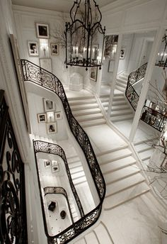 Wrought Iron Railings and Marble Staircase at Ralph Lauren