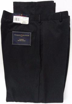 NWT Tommy Hilfiger Mens 34X30 Traveler Pants Micro Tech Lightweight Black Logo #TommyHilfiger #CasualPants