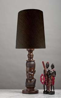 African table lamp leopard design suede goatskin shade rescued wood out of africa a beautifully hand carved and polishedvintage african lamp the aloadofball Images