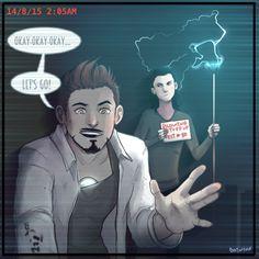 Loki and Tony  frostiron art by Batwynn lol those two