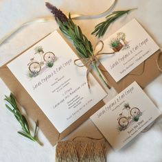 This shabby chic Watercolour lavender bicycle wedding set is printed on mottled white card designed by Top Table Design. It features a sweet little cream bicycle surrounded by delicate handpainted lavender flowers. Included in this set are also RSVPs, save the dates and brown rustic craft envelopes.