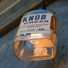 Knob Creek pendant light shade makes for great industrial lighting!  Bottle lights and bottle lamps are trendy and fun! Get yours by CLICKING on the picture to go to my Etsy shop www.etsy.com/shop