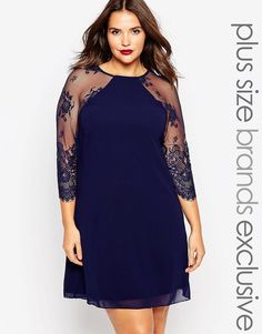 Little Mistress Plus Shift Dress With Lace Sleeves