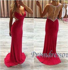 Modest prom dress, ball gown, 2016 beautiful v-neck red chiffon long senior prom dress #coniefox #2016prom