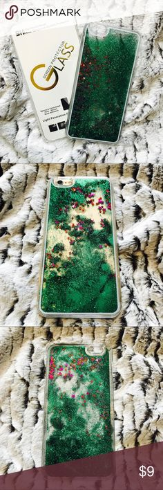 iPhone 6/6s Liquid Glitter Case + Screen Protector ▪️BRAND NEW Sealed iPhone 6 / 6s Case ▪️Green Liquid Glitter With Purple Red Stars ▪️INCLUDES BRAND NEW GLASS SCREEN PROTECTOR! ▪️Same or Next Day Shipping ! Accessories Phone Cases