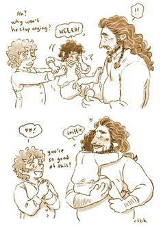 I cheered myself up by illustrating this lovely post, I wanted to show how Thorin evolved into such a natural dad for his hobbit son ♥ Hobbit 3, The Hobbit Movies, I See Fire, Bagginshield, Johnlock, Drarry, Cute Love Memes, Jrr Tolkien, Legolas