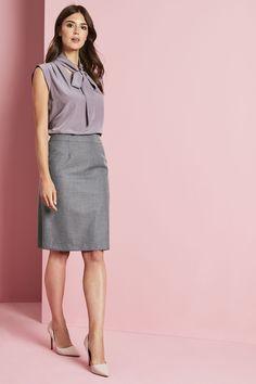 4b647ea9d2b1 Simon Jersey Alderley Pencil Skirt - Grey Sharkskin Staff Uniforms, Work  Uniforms, Gray Skirt
