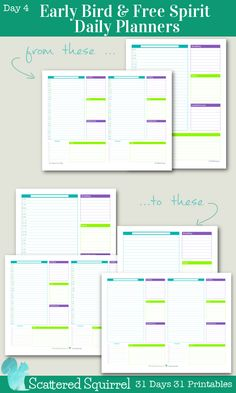 {31 Days 31 Printables} Day 4- Early Bird and Free Spirit Daily Planners: These planner printables are perfect for those who get an early start to their days and those who maybe don't want to be constrained by time slots, or whose lives have to work around wonky hours.