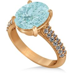 Allurez Oval Aquamarine & Diamond Engagement Ring 14k Rose Gold... ($2,265) ❤ liked on Polyvore featuring jewelry, rings, diamond accent ring, oval diamond ring, twisted engagement ring, rose diamond ring and diamond engagement rings