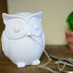 "Beautiful Ceramic Owl Twine Holder with 20 yards of twine. 5"" high"