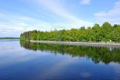 Imatra, Finland. Full-flowing Vuoksi and Imatra reservoir in summer ...
