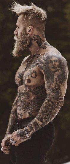 Moustache, Beard No Mustache, Tattoo Photography, Man Photography, Tatoo Art, Body Art Tattoos, Street Style Boy, Sexy Tattooed Men, Tatted Men