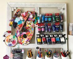 Idée Rangement Atelier #tubes #peintures #couleurs Panneau Accroche Tout  (Châssis +