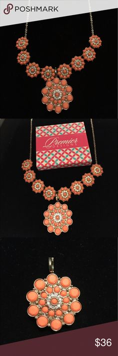 "Premier Designs Peachy Keen Necklace with Enhancer Matte gold tone, crystals/acrylics 16"" necklace + 4"" removable extender with lobster claw & pin/enhancer with removable snap ring closure. Premier Designs Jewelry Necklaces"