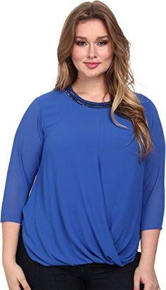 dc5df80b5bc7b MICHAEL Michael Kors Womens Plus Size Embellished Neck Top Amalfi Blue  Shirt    You can