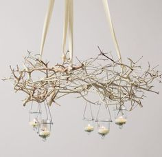 "No electric in center of the sloped ceiling-perhaps a tree branch ""chandelier"" on ribbon instead?"