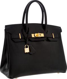 Hermes 30cm Black Calf Box Leather Birkin Bag with Gold Hardware