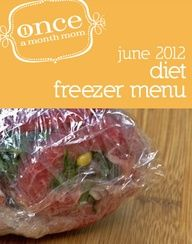 Freezer cooking menu for those wanting lower calorie, lower fat options. Weight Watchers Points Plus included.