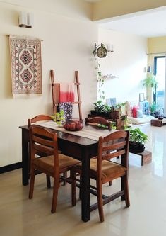 Jayati and Manali share their home tour as the science home décor - An indoor plants are placed together to create a partition between the dining and living area