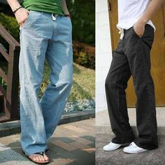 Men s Trousers Linen Pants Long Loose Bucket Big Straight Pants At-home style