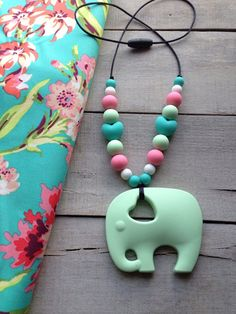 New! Bliss Bouquet Tula Silicone teether, Elephant Silicone Necklace Teether, Tula Accessories, Silicone Teething toy